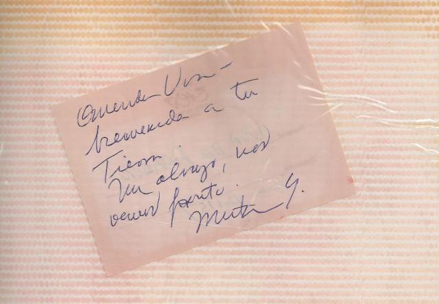 Nota de la escritora Mirta Yañez que me esperaba en el hotel en mi primer viaje a Cuba en 1999