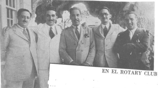 AHC en La Habana, junto a Juan Marinello, persona sin identificar, Jorge Mañach y Conrado Massaguer