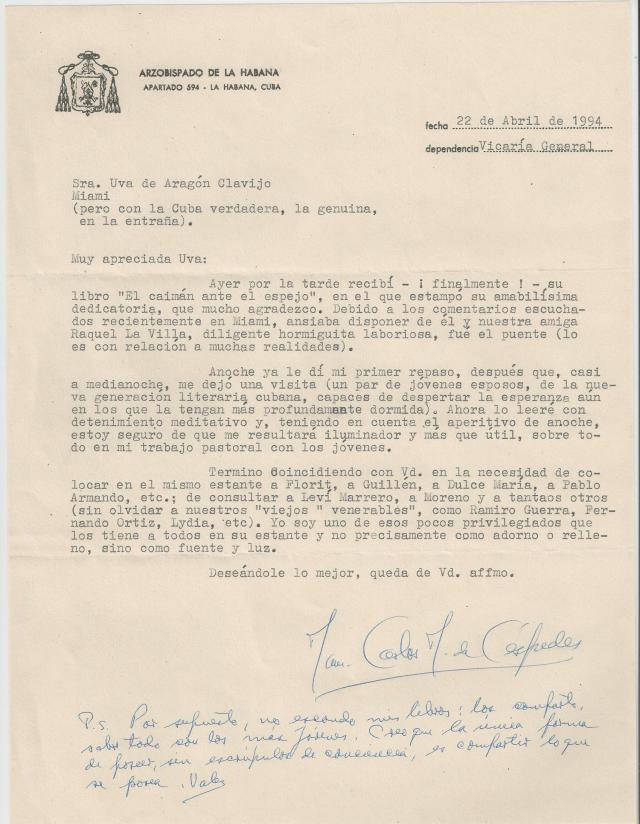 Primera carta que recibí de Monseñor Carlos Manuel de Céspedes en 1994