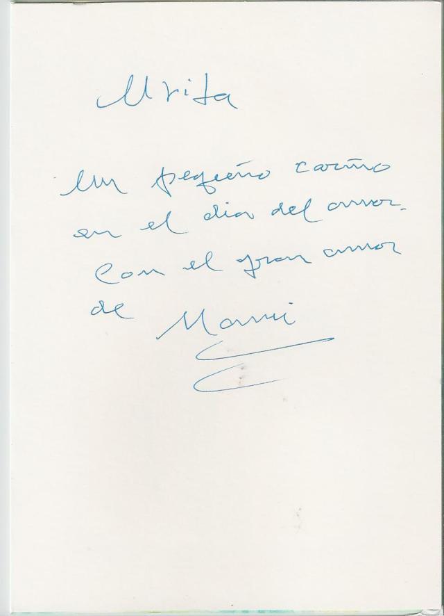 Me emocionó ver la caligrafía de mi madre y leer su cariñoso mensaje