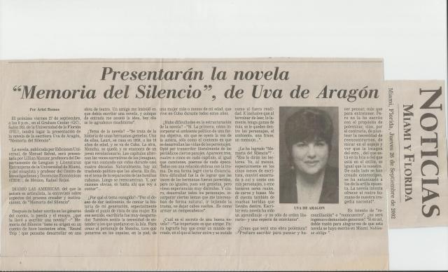 """Ariel Remos me entrevista en 2002 con motivo de la publicación de mi novela """"Memoria del silencio"""""""