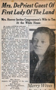 A pesar de la amable crónica social, la invitación de  la Primera Dama a la Casa Blanca a la esposa del primer congresista negro,  creó un gran revuelo