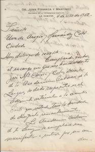 Carta del Profesor fosnseca. primera página