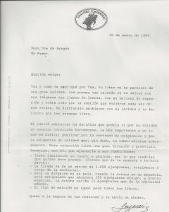 "Carta de oferta para publicar ""Los nombres del amor"""