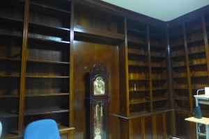 Los libreros estaban intactos pero sin libros, y faltaba naturalmente e,l oleo de mi madre donde ahora hay un reloj