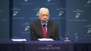 El Presidente Carter durante conferencia de prensa sobre su estado de salud