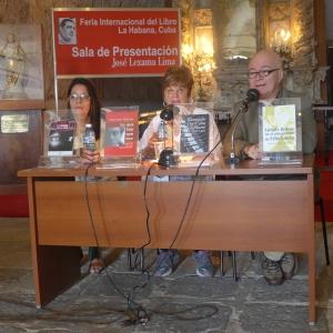Vitalina Alfonso, Uva de Aragón y Eugenio Marrón en la Sala Lezama Lima en la Feria Internacional del Libro 2016